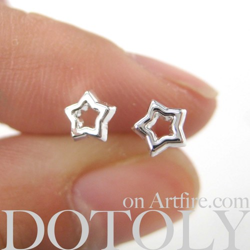 Small Star Shaped Cut Out Stud Earrings Non Allergenic Plastic Post ...