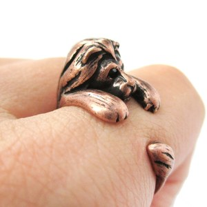 Miniature Lion Animal Wrap Around Ring in Copper - Sizes 4 to 9 Available