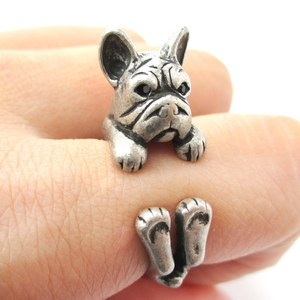 Realistic French Bulldog Shaped Animal Ring in Silver | Size 4 to 8.5