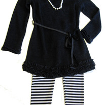 Biscotti By Kate Mack Black Tunic w/Striped Legging