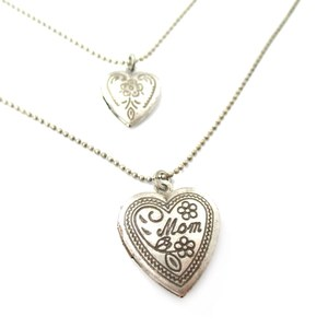 Heart Shaped I Love Mom Mothers Day Locket Layered Necklace in Silver