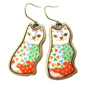 Colorful Patchwork Kitty Cat Illustrated Resin Animal Dangle Earrings
