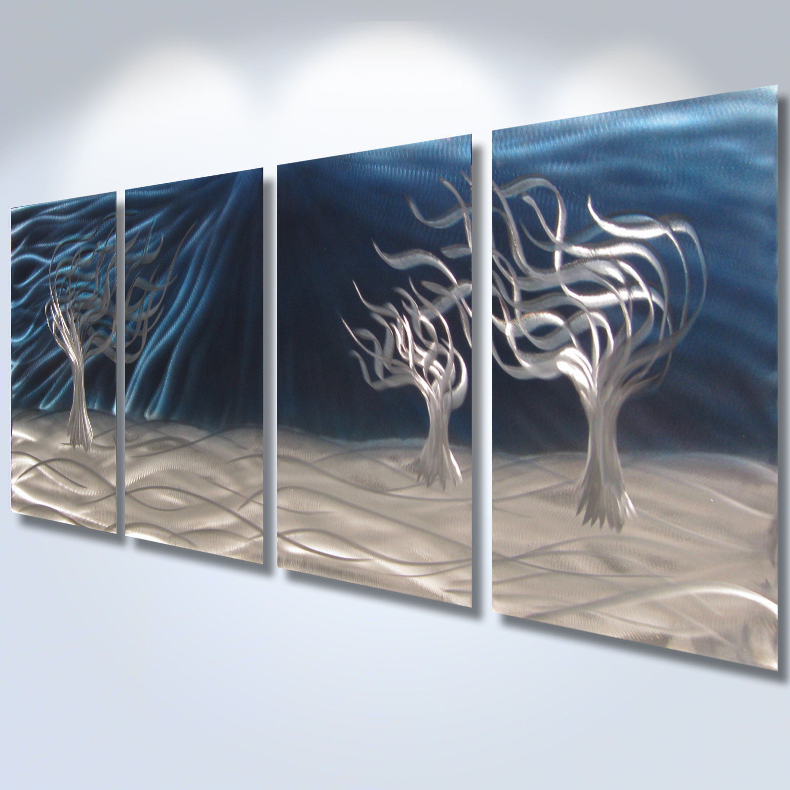 3 trees blue abstract metal wall art contemporary modern for Contemporary decorative accessories