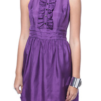 L Forever 21 purple silk sleeveless full skirt mini dress rockabilly pin-up