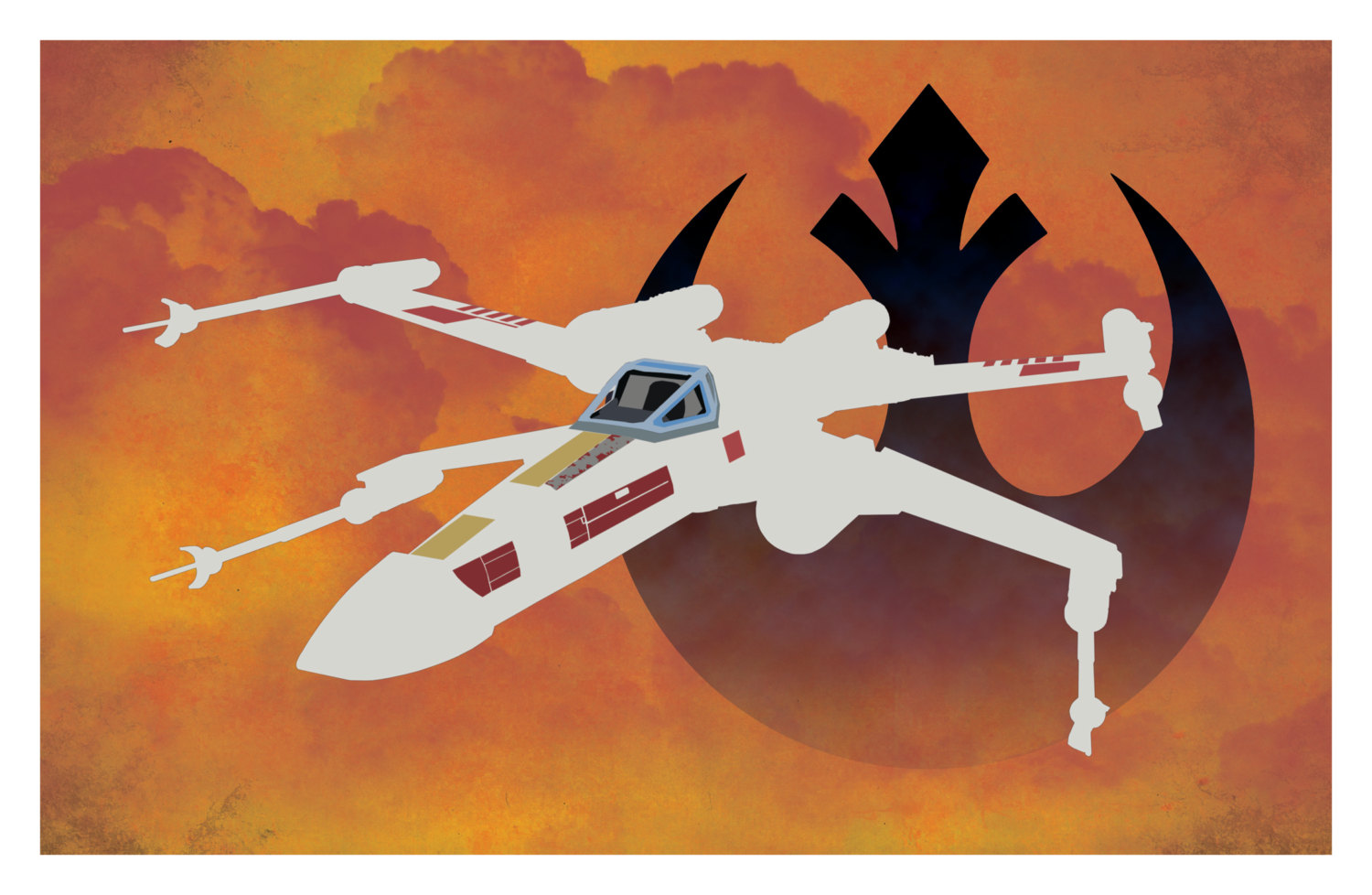 X-Wing Star Wars Rebel Alliance Poster by Brian Linss