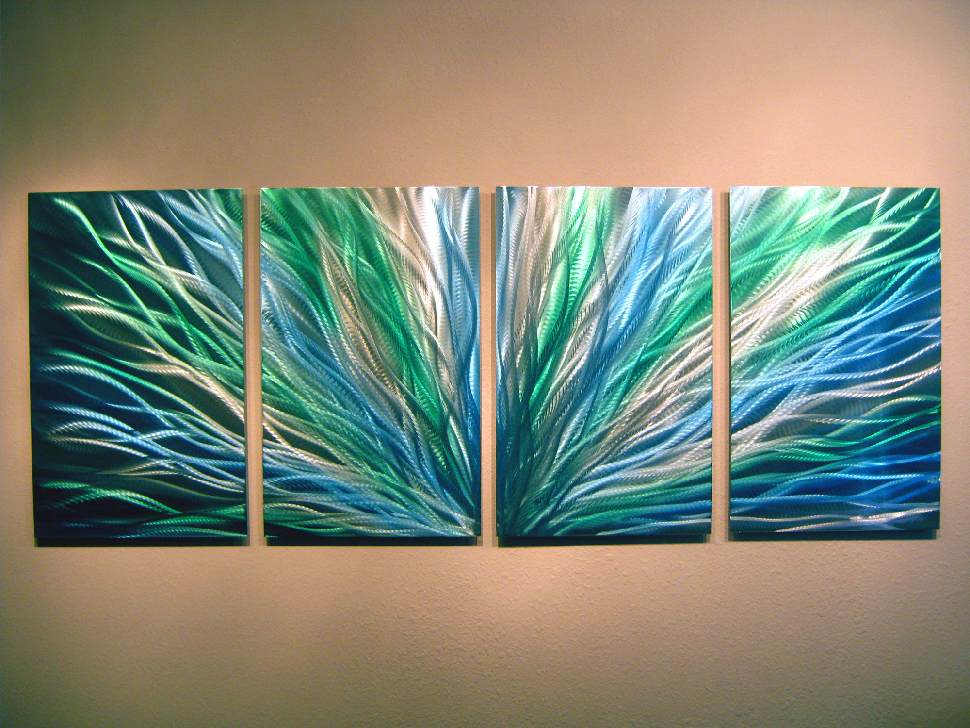 Radiance blue green abstract metal wall art contemporary for Abstract decoration