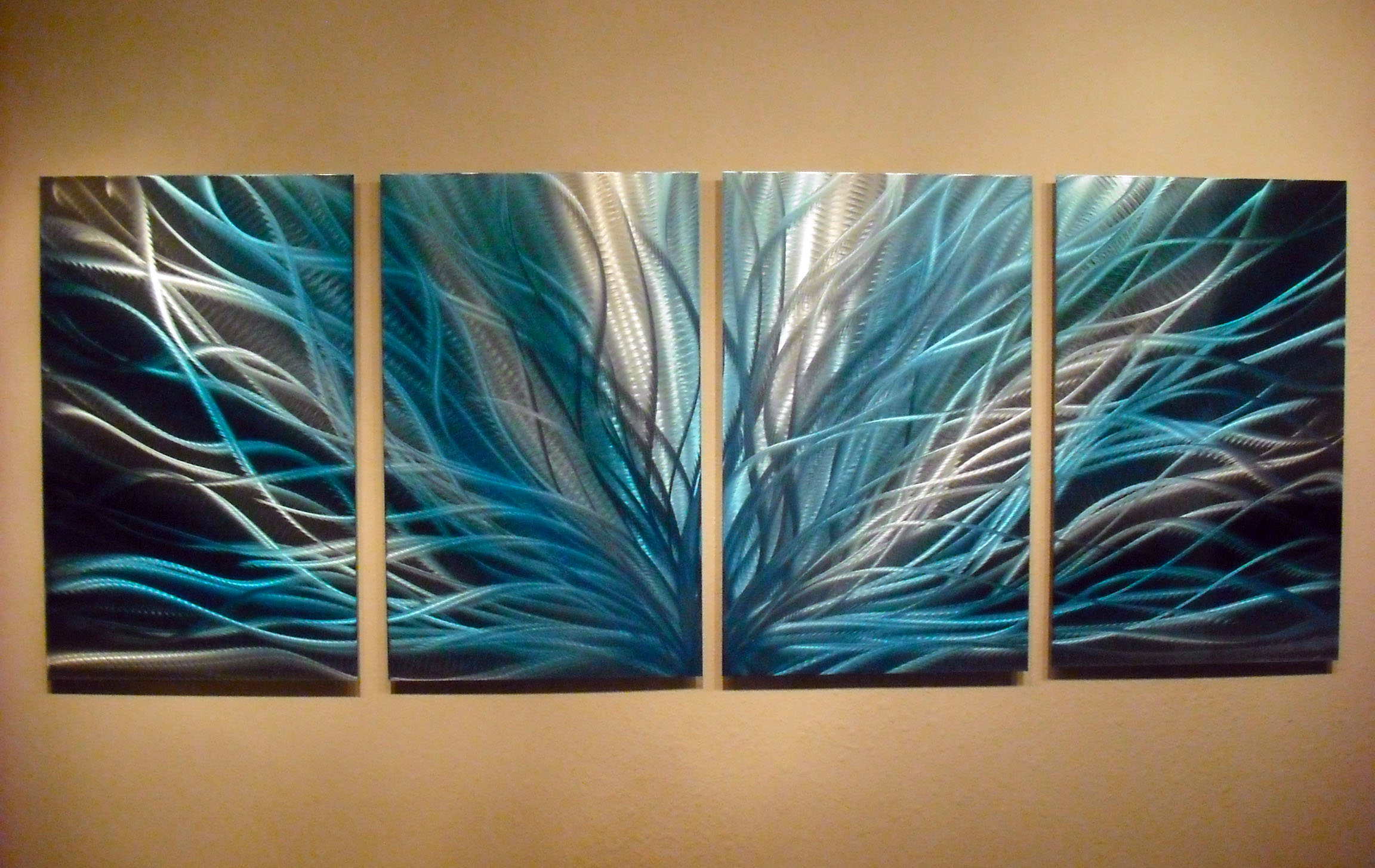 Teal Metal Wall Art Radiance In Blues Abstract Metal Wall Art Contemporary Modern