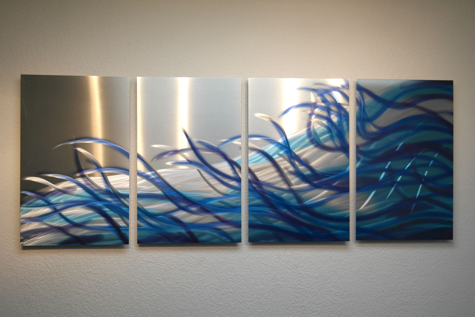 Resonance blue metal wall art abstract contemporary for Modern decorative art