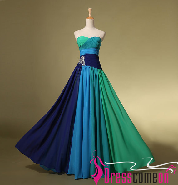 Different Colors A-line Sweetheart Ombre Chiffon Long Prom Dress ...