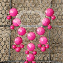 large knotiebubble necklace - pink w/gold