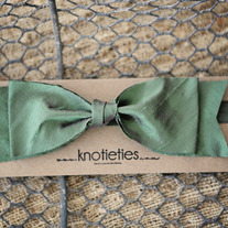 big silk knotiebow headband - deep sage