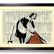 Image of Banksy Maid, Vintage Dictionary Print, 8 x 10