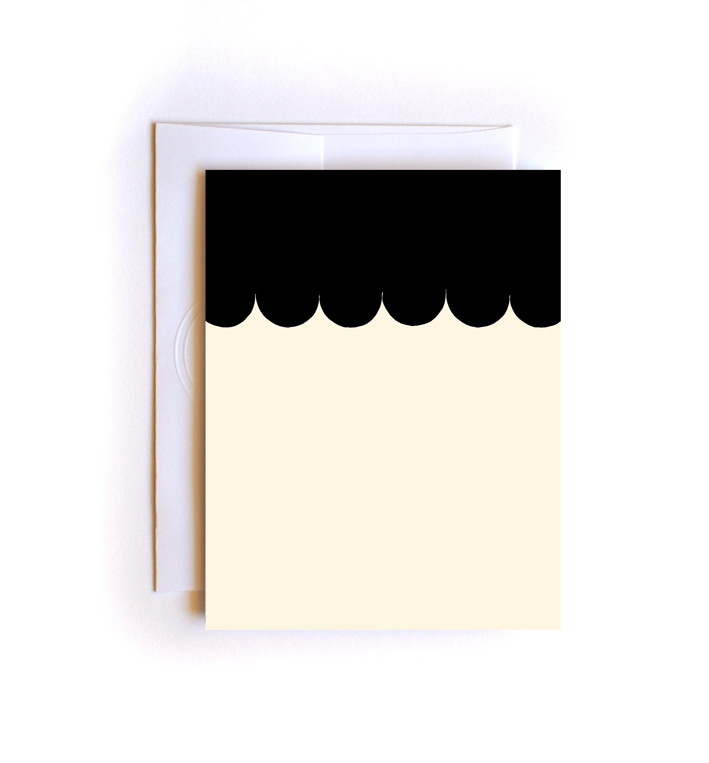 hand drawn scallops card blank card birthday card thank you