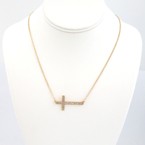 Gold Crystallized Sideways Cross Necklace