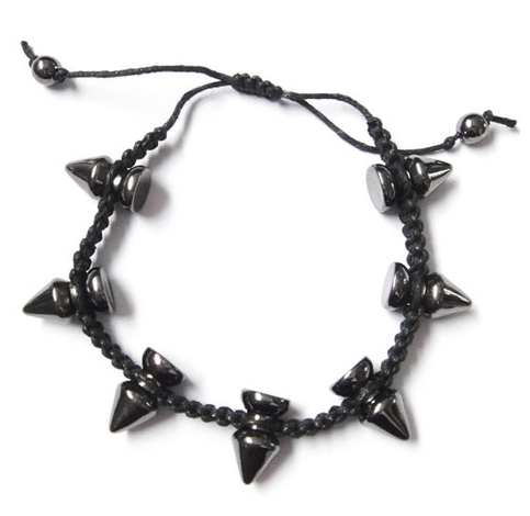 Spikes Braided bracelet - Black
