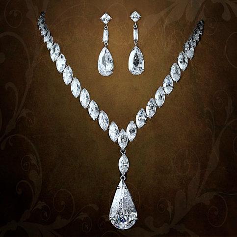 Stunning cubic zirconium bridal jewelry set on storenvy for Bridesmaid jewelry sets under 20