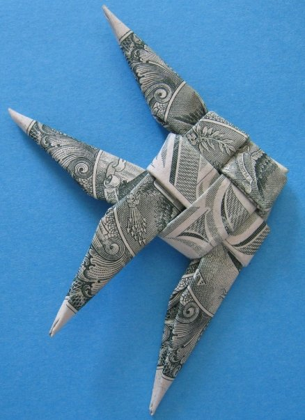 Money origami angelfish instructions tutorial origami for Dollar bill origami fish