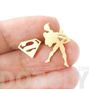 Iconic Superman Silhouette Logo Shaped Silhouette Allergy Free Stud Earrings in Gold