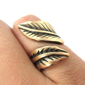 Pretty Leaves Shaped Floral Wrap Around Ring in Brass | Size 6 Only