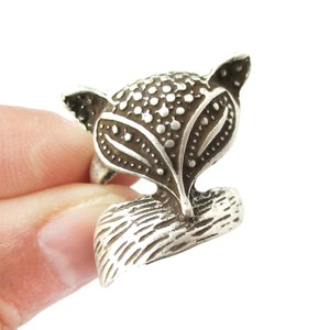 Fox Wrapped Around Your Finger Animal Ring in Silver | Size 5 Only