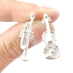 Violin and Trumpet Shaped Musical Instrument Stud Earrings in Silver