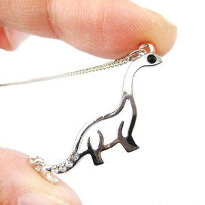 Dinosaur Outline Prehistoric Brontosaurus Pendant Necklace in Silver