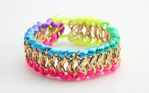 Colorful Neon Gold Chain bracelet