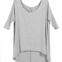 Grey Dip Hem Loose T-shirt
