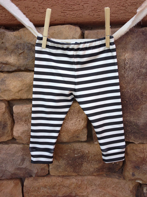 Black   white Stripe Baby leggings · Little Nugget Republic ...