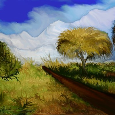 The way to the snowy mountains - digital art