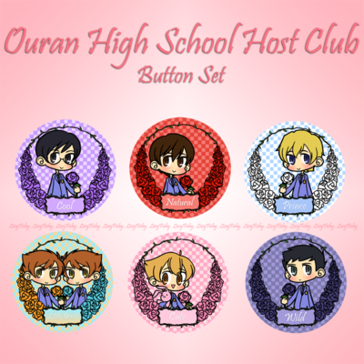 Ouran High School Host Club Button Set Haruhi Tamaki Honey Kaoru    Ouran Highschool Host Club Honey And Haruhi