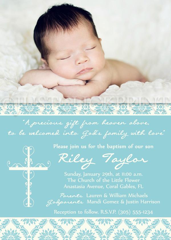 Shabby Chic Damask Baptism Dedication Christening Photo Invitation ...