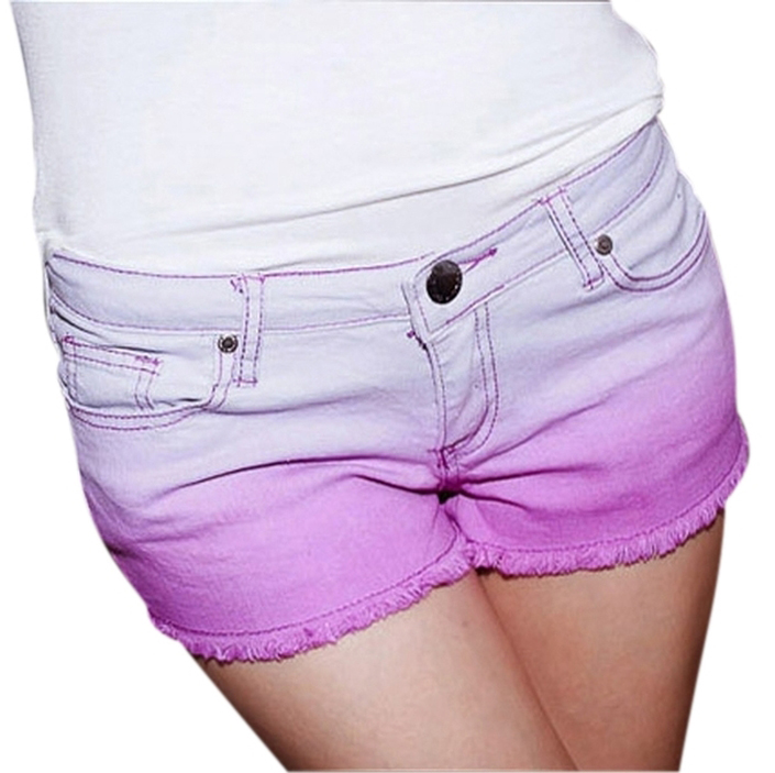 Purple Dip Dyed Shorts: Women, Ladies, Girl, Teen - Casual - Beach ...