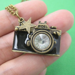 Camera Photographer Necklace in Black on Bronze with Rhinestone Lens