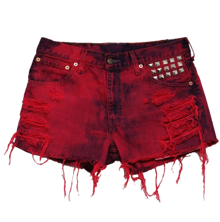 Red & Black LEVIS Shorts with Studs: Women, Ladies, Girl, Teen ...