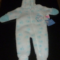 White/Blue Hooded Pram Suit-Cuddle Time Size 0-6 Months-NEW