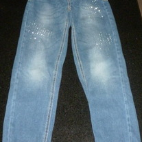 Denim Jeans with Rhinestones-Justice Size 8 Regular