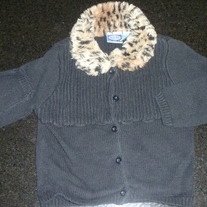 Black Sweater with Leopard Neck/Collar-Koala Kids Size 36 Months
