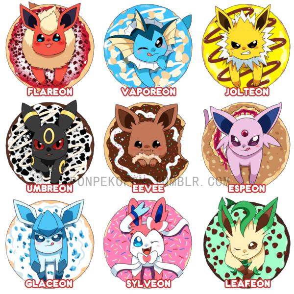 pick one donut eeveelutions 1 5 acrylic charms seiryuuden s shop