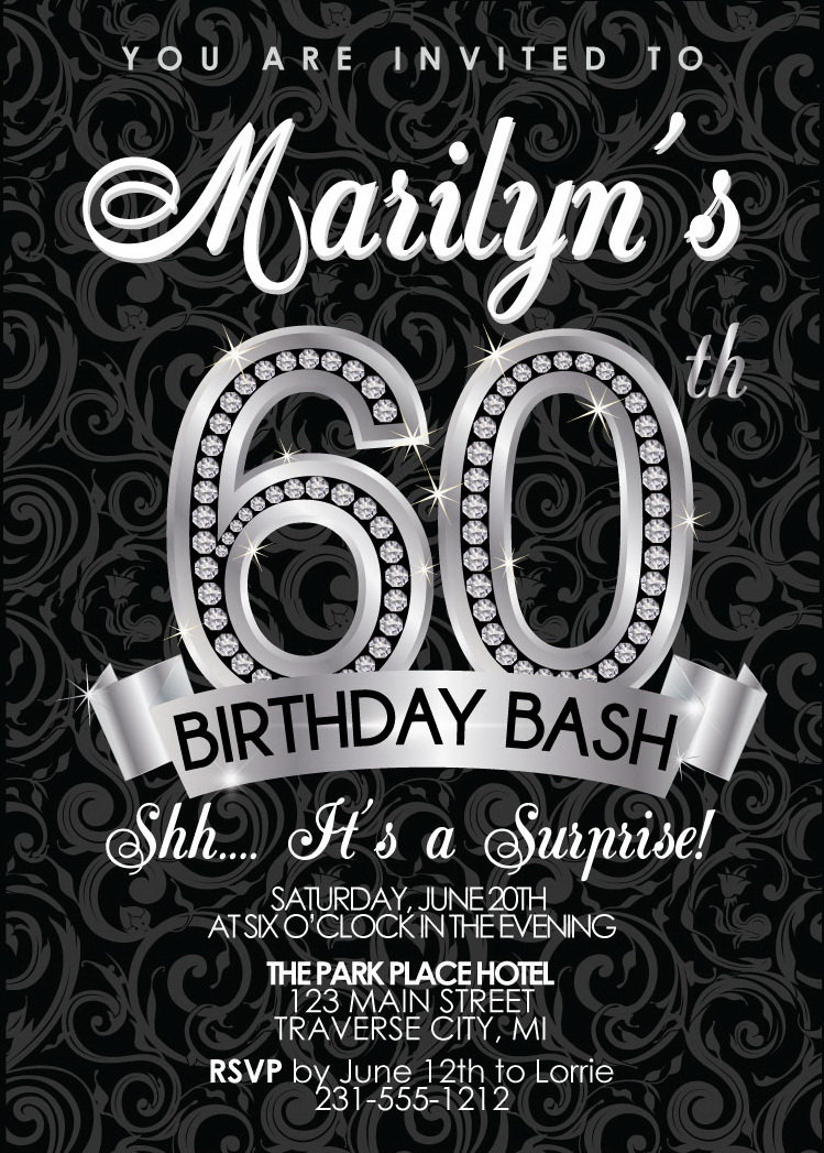 60th birthday invitation adult birthday party invitation 60th birthday invitation adult birthday party invitation milestone black and silver diamond filmwisefo