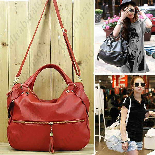 Korean Style Tassel PU Leather Lounge Shoulder Bag with Short ...