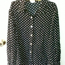 Blair Boutique Black and White Polka Dot Shirt