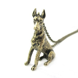 3D Realistic Doberman Pinscher Dog Breed Animal Charm Necklace in Brass
