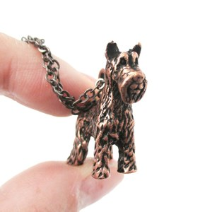 3D Realistic Schnauzer Animal Dog Breed Charm Necklace in Copper
