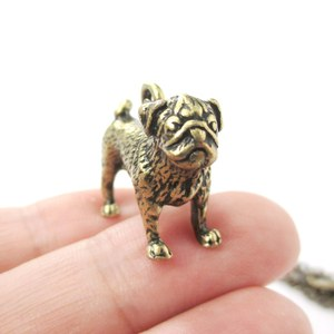 3D Realistic Pug Animal Shaped Dog Breed Life Like Charm Necklace in Brass
