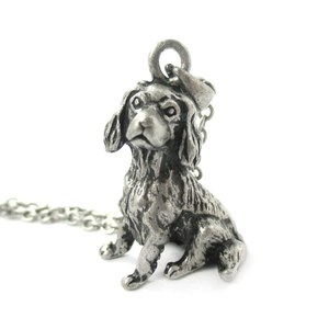 3D Realistic King Charles Spaniel Animal Dog Breed Charm Necklace in Silver