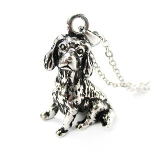 3D Realistic King Charles Spaniel Animal Dog Breed Charm Necklace in Shiny Silver