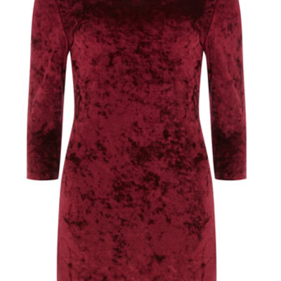 M long sleeve red velvet bodycon dress