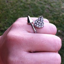 Rhineston and Spike Ring