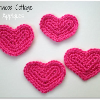 Valentine's heart crochet applique
